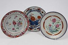 Three 18th century Chinese export porcelain plates comprising Imari palette plate with floral decora