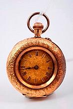 Late 19th century ladies' Swiss gold (18k) cased fob watch with button-wind movement, engraved dial
