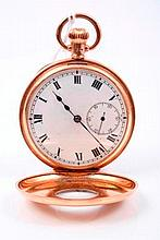 Gentlemen's rose gold (9ct) half hunter pocket watch with Swiss fifteen jewel button-wind movement,