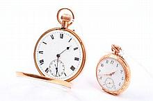 Gentlemen's gold (9ct) open face pocket watch with button-wind movement in gold (9ct) case and a lad