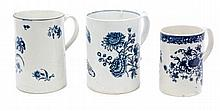 18th century Lowestoft porcelain tankard with peaked scroll handle, underglazed blue transfer floral