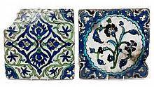 Two antique Iznik Ottoman glazed pottery tiles, probably late 16th / early 17th century - both paint