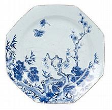 Mid-18th century Chinese export blue and white porcelain octagonal charger finely painted with butte