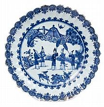 Mid-18th century Chinese export blue and white porcelain fluted dish painted with courtiers, deer an