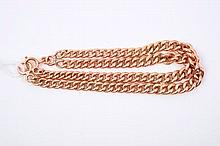 Rose gold (9ct) curb link bracelet with a double strand of graduated curb links, 19cm
