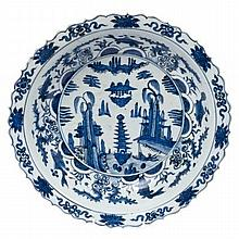 18th century Chinese export blue and white porcelain basin painted with pagoda in landscape, fish, p