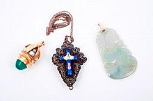 Chinese carved jade / green hardstone pendant, cultured pearl and chrysoprase charm pendant and a Co