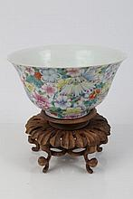 20th century Chinese export porcelain bowl, polychrome enamelled with millefiori flowers - four char