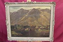 Arthur Spooner (1873 - 1962), oil on canvas - Grange Bridge, Borrowdale, Lake District, signed, fram