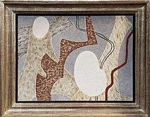 Jessica Dismorr (1885 - 1939), tempera on board - Composition signed, bearing Birmingham Exhibition