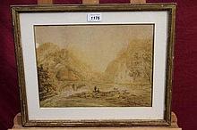 John Laporte (1761 - 1839), watercolour - fishermen beside a bridge in mountainous landscape, signed