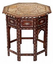 19th century Kashmiri padouk, ivory and ebony inlaid octagonal table, the moulded top with concentri