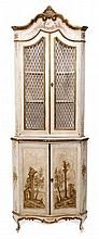 Italian rococo-style painted standing corner cupboard, the upper section with gilt scroll cornice en