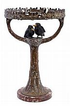 Early 20th century, probably Austrian, gilded cold painted bronze table lamp in the form of a tree,
