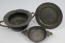 18th century pewter twin-handled chamber pot with everted rim, touch marks for London, four marks R.