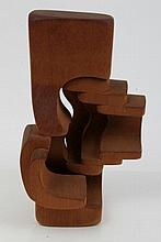 Brian Willsher (b. 1930), carved wood abstract sculpture, signed and dated 1980 to the underside, 26