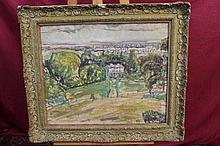 1950s English School oil on canvas - country house in extensive landscape, indistinctly signed and d