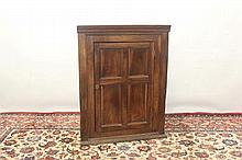 Rare 18th century fruitwood corner cupboard with shelved interior enclosed by a panelled door, 77cm