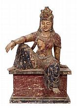Impressive Chinese carved polychrome temple figure carved as a female deity in contemplation pose, s