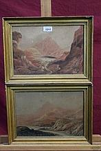 William Varley (1785 - 1858), pair of watercolours - extensive Welsh lake views, one signed and date