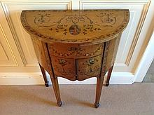 19th century satinwood bow front cupboard, with rising lid above two cupboard doors, painted with cl