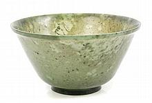 Chinese finely carved spinach-green jade bowl with slightly flared rim and short cylindrical flared