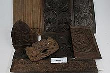 Collection of 17th century and later oak panels and other carvings including furniture and architect