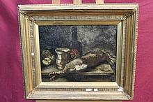 Late 19th century Continental School oil on canvas - still life with a dead rabbit, tankard and bott