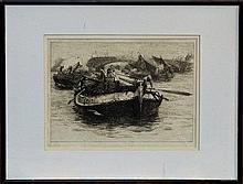 William Lionel Wyllie (1851 - 1931), signed black and white etching - Heave Away, Rochester Bridge,