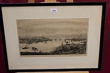 William Lionel Wyllie (1851 - 1931), signed black and white etching - Rochester Bridge, published by