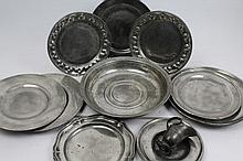 Pair of unusual 18th century pewter dishes with embossed leaf rims, 23cm diameter, together with thi