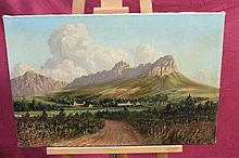 George Paul Canitz (1874 - 1959), oil on canvas - South African landscape, signed, unframed, 49cm x