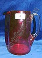 Victorian ruby glass jug with clear glass handle, 18.5cm