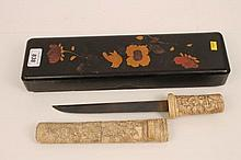 Late 19th century Japanese carved bone tanto dagger with car
