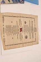 Royal Navy silk scroll commemorating the launch of HMS Conqu