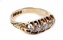 George V gold (18ct) diamond five stone ring with