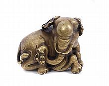 Indo-Chinese bronze and gold splash model of an el