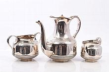 Late Victorian silver three piece coffee set compr