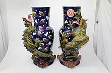 Pair of impressive late 19th century Majolica vase