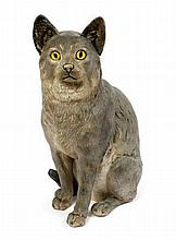 Continental cold painted model of a cat in seated