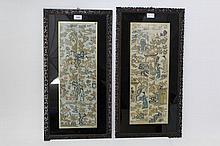 Pair of 19th century Chinese silkwork sleeve panel