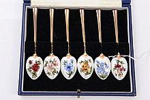 Set of six contemporary silver gilt coffee spoons