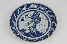 Chinese blue and white saucer dish with painted dr