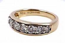 Gold (18ct) diamond seven stone ring with seven gr