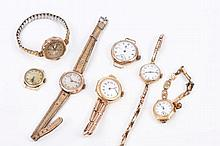 Seven early 20th century ladies' gold cased wristw