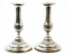 Pair George III silver candlesticks of waisted for