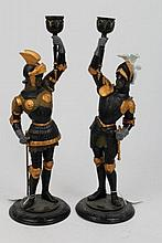 Pair of 19th century painted spelter figural candl