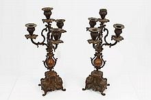 Pair of late 19th century French bronze four-branc