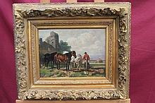 Willem Ehrenfeld, oil on panel - horses and peasan