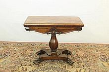 William IV rosewood card table with fold-over top